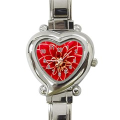 Red Dahila Heart Italian Charm Watch  by Colorfulart23
