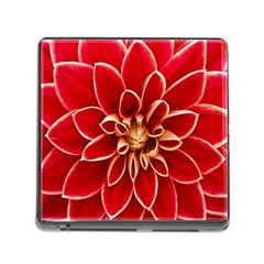 Red Dahila Memory Card Reader With Storage (square) by Colorfulart23