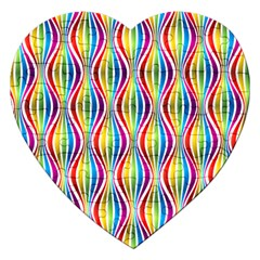 Rainbow Waves Jigsaw Puzzle (heart) by Colorfulplayground