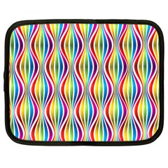 Rainbow Waves Netbook Sleeve (large) by Colorfulplayground