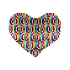 Rainbow Waves 16  Premium Heart Shape Cushion  by Colorfulplayground