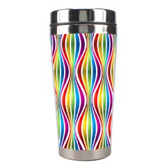 Rainbow Waves Stainless Steel Travel Tumbler by Colorfulplayground