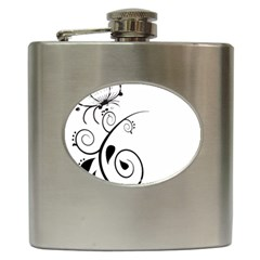 Floral Butterfly Design Hip Flask