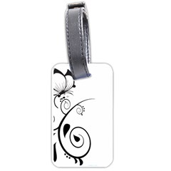 Floral Butterfly Design Luggage Tag (two Sides) by OneStopGiftShop
