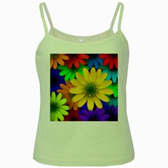 Gerbera Daisies Green Spaghetti Tank by StuffOrSomething
