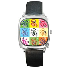 Skull Square Leather Watch by Siebenhuehner