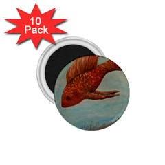 Gold Fish 1 75  Button Magnet (10 Pack)