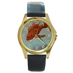 Gold Fish Round Leather Watch (gold Rim)  by rokinronda