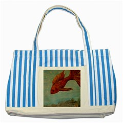 Gold Fish Blue Striped Tote Bag by rokinronda