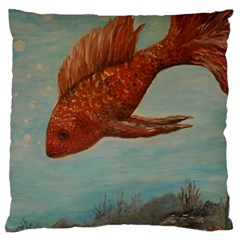 Gold Fish Large Cushion Case (two Sided)  by rokinronda