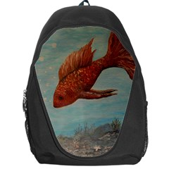 Gold Fish Backpack Bag by rokinronda