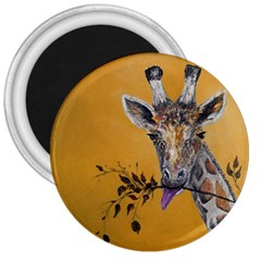 Giraffe Treat 3  Button Magnet by rokinronda