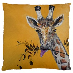 Giraffe Treat Large Cushion Case (single Sided)  by rokinronda