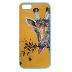 Giraffe Treat Apple Seamless Iphone 5 Case (color) by rokinronda