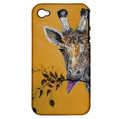 Giraffe Treat Apple Iphone 4/4s Hardshell Case (pc+silicone) by rokinronda