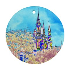 Castle For A Princess Round Ornament (two Sides) by rokinronda