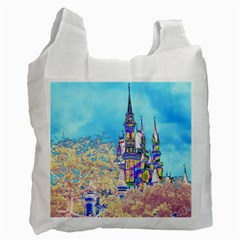 Castle For A Princess White Reusable Bag (two Sides) by rokinronda