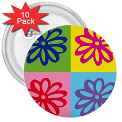 Flower 3  Button (10 Pack) by Siebenhuehner