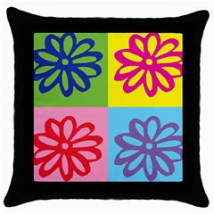 Flower Black Throw Pillow Case by Siebenhuehner
