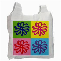 Flower White Reusable Bag (two Sides) by Siebenhuehner