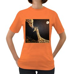 Baby Giraffe And Mom Under The Moon Women s T Shirt (colored) by rokinronda