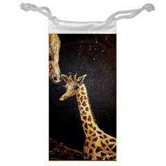 Baby Giraffe And Mom Under The Moon Jewelry Bag by rokinronda