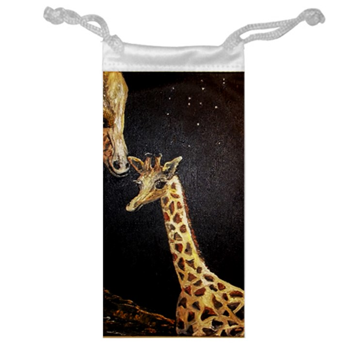 Baby Giraffe And Mom Under The Moon Jewelry Bag