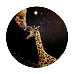 Baby Giraffe And Mom Under The Moon Round Ornament (two Sides) by rokinronda