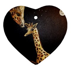 Baby Giraffe And Mom Under The Moon Heart Ornament (two Sides) by rokinronda