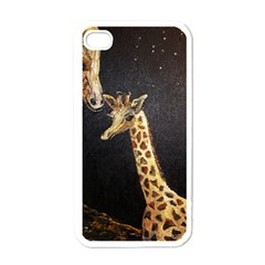 Baby Giraffe And Mom Under The Moon Apple Iphone 4 Case (white) by rokinronda