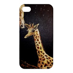 Baby Giraffe And Mom Under The Moon Apple Iphone 4/4s Premium Hardshell Case by rokinronda