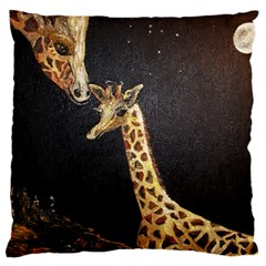 Baby Giraffe And Mom Under The Moon Large Cushion Case (two Sided)  by rokinronda