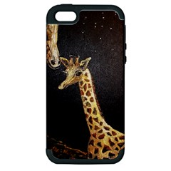 Baby Giraffe And Mom Under The Moon Apple Iphone 5 Hardshell Case (pc+silicone) by rokinronda