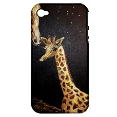 Baby Giraffe And Mom Under The Moon Apple Iphone 4/4s Hardshell Case (pc+silicone) by rokinronda