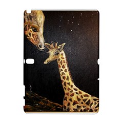 Baby Giraffe And Mom Under The Moon Samsung Galaxy Note 10 1 (p600) Hardshell Case by rokinronda