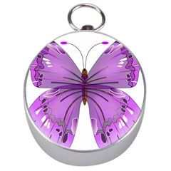Purple Awareness Butterfly Silver Compass by FunWithFibro