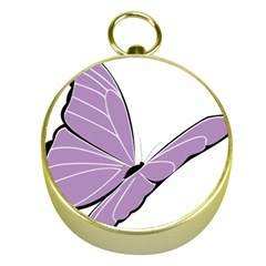 Purple Awareness Butterfly 2 Gold Compass by FunWithFibro