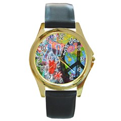 Prague Graffiti Round Leather Watch (gold Rim)  by StuffOrSomething