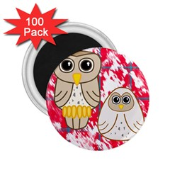 Two Owls 2 25  Button Magnet (100 Pack) by uniquedesignsbycassie