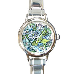 Peaceful Flower Garden Round Italian Charm Watch by Zandiepants