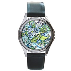 Peaceful Flower Garden Round Leather Watch (silver Rim) by Zandiepants