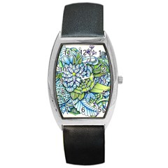 Peaceful Flower Garden Tonneau Leather Watch by Zandiepants
