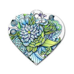 Peaceful Flower Garden Dog Tag Heart (one Sided)  by Zandiepants