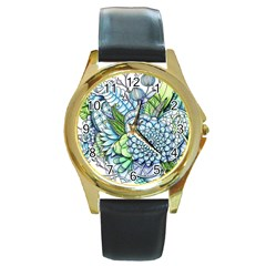Peaceful Flower Garden 2 Round Leather Watch (gold Rim)  by Zandiepants