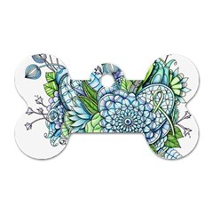 Peaceful Flower Garden 2 Dog Tag Bone (two Sided) by Zandiepants