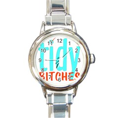 Tidy Bitcheslarge1 Fw Round Italian Charm Watch by tidybitches