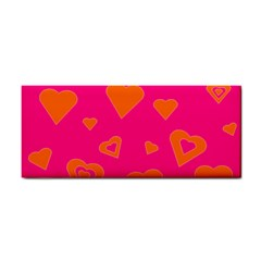 Hot Pink And Orange Hearts By Khoncepts Com Hand Towel by Khoncepts