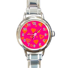 Hot Pink And Orange Hearts By Khoncepts Com Round Italian Charm Watch by Khoncepts