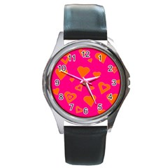 Hot Pink And Orange Hearts By Khoncepts Com Round Leather Watch (silver Rim) by Khoncepts
