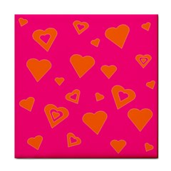 Hot Pink And Orange Hearts By Khoncepts Com Ceramic Tile by Khoncepts